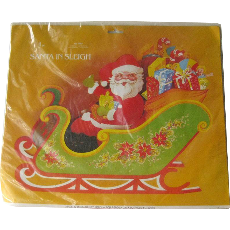 Santa in Sleigh Centerpiece / Perola Denmark / Three Dimensional Sleigh / Vintage Christmas Decor / Collectible Christmas