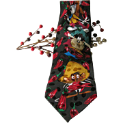 Novelty Silk Necktie Looney Tunes Mania Chili Peppers / Mens Tie / Novelty Tie / Gift For Him
