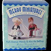 Hallmark Merry Miniatures - Park Avenue Wendy - Alex he Bellhop - Madame Alexander Dolls - Collectible Miniatures