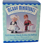 Hallmark Merry Miniatures - Park Avenue Wendy - Alex he Bellhop - Madame Alexander Dolls - Collectible Miniatures