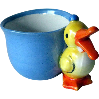 Child's Cup Duck Handle / Duck Figure / Childs Cup / Vintage Collectible / Japan Mug