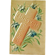 Silk Easter Postcard / Cross Postcard / Heavily Embossed Postcard / Collectible Postcard / Ephemera