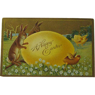 Winsch Easter Postcard / Bunnies Chicks and Egg Postcard / Collectible Postcard / Ephemera