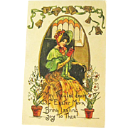 Easter Postcard by H B Griggs / Art Nouveau Postcard / Collectible Postcard / Lady in Victorian Dress / Ephemera