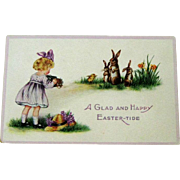 Whitney Easter Postcard Girl Taking Picture of Rabbits
