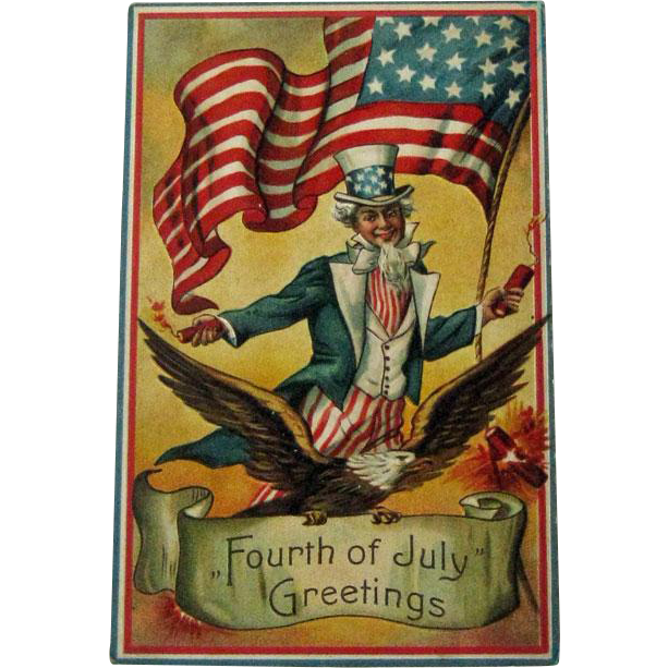 Uncle Sam Fourth of July Postcard / 1910 Postcard / Patriotic Postcard