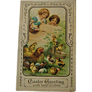 Easter Postcard Children Watching Hen and Chicks / Embossed Easter Postcard / Ephemera / Vintage Postcard