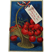 Clapsaddle Patriotic Postcard / Fourth of July Postcard / Basket of Cherries / Vintage Postcard