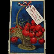 Clapsaddle Patriotic Postcard / Fourth of July Postcard / Basket of Cherries / Vintage Postcard