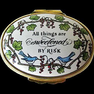 Halcyon Days Enamel Box / Grapes and Birds Box / Vintage Box