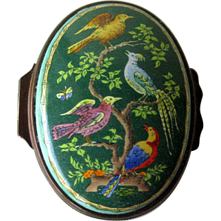 Halcyon Days Enamel Box with Colorful Birds / Hand Painted Box / Trinket Dresser Box