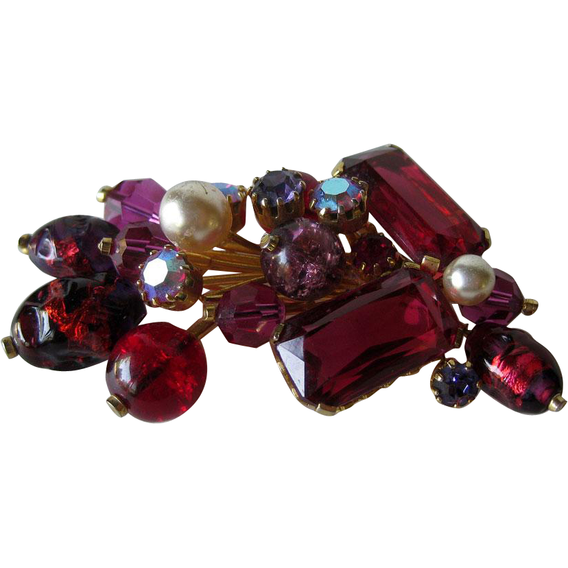 Extraordinary Kramer Austria Red Art Glass Pin / Designer Brooch/ Fashion Jewelry