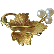 Krementz Gold Tone Leaf Pn Cultured Pearls