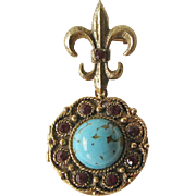 Locket with Fleur de Lis / Simulated Turquoise / Fashion Jewelry