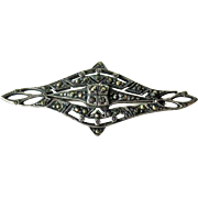 Marcasite Bar Pin  / Elegant Marcasite Brooch /Sterling Silver Brooch / Vintage Jewelry / Collectible Jewelry / Fashion Jewelry