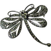 Marcasite Dragonfly Pin Brooch / Sterling Silver Dragonfly Brooch / Vintage Jewelry / Collectible Jewelry / Fashion Jewelry