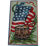 Memorial Day Postcard / Flag Postcard / Drum Postcard / Patriotic Postcard