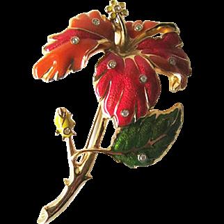 Jose Maria Barrera Huge Flower Brooch / Figural Brooch / Signed Pin