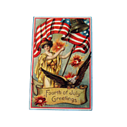 Lady Liberty Fourth of July Postcard / Patriotic Postcard / Vintage Postcard