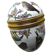 Petite Halcyon Days Egg Shaped Box Many Birds / Enamel Box / Collectible Box