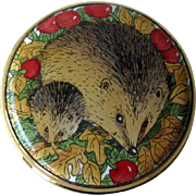 Staffordshire Enamels Hedgehog Box / Pill Box / Enamel Box / Hand Painted Box