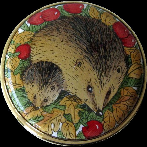 Staffordshire Enamels Hedgehog Box / Pill Box / Enamel Box / Hand Painted Box