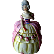Lady Powder Box - Dresser Box - Trinket Box - Vintage German Porcelain
