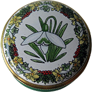 Staffordshire Enamels Flower of Month Snowdrop Box / Pill Box / Enamel Box / Hand Painted Box