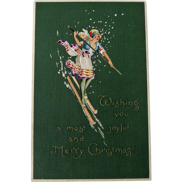 Art Deco Christmas Postcard - Lovely Lady Postcard - Skiing Postcard