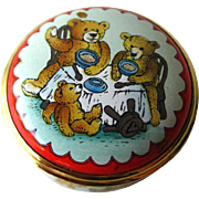 Halcyon Days Three Bears Enamel Box / Hand Painted Box / Trinket Dresser Box / Enamel Box / Vanity Item/ Pill Box