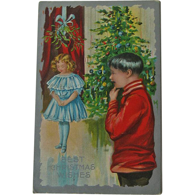 Christmas Postcard Girl under Mistletoe - Christmas Postcard - Vintage Postcard
