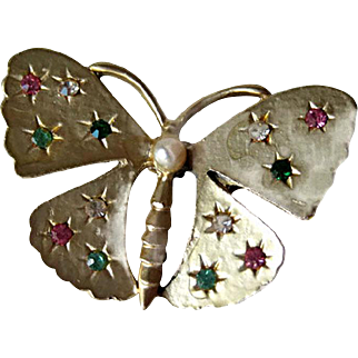 Gold-tone Butterfly Brooch with Rhinestones - Vintange Pin - Fashion Jewelry