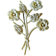 Early Plastic Flower Brooch - Bouquet of Flowers Pin - Figural Pin - Fashion Jewelry