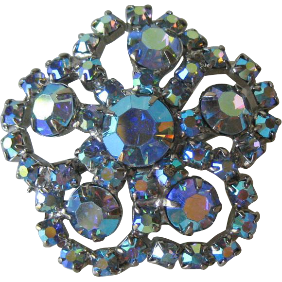 Blue Aurora Borealis Rhinestone Pin - Vintage Pin - Fashion Jewelry