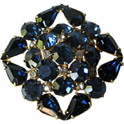 Royal Blue Rhinestone Pin - Vintage Brooch - Fashion Jewelry