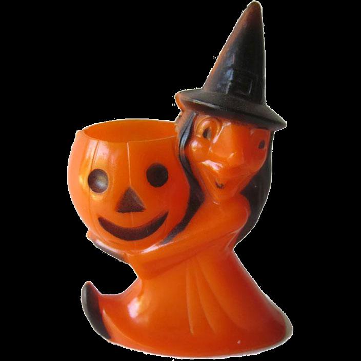 Vintage Rosbro Halloween Witch Holding Pumpkin Candy Container / Vintage Halloween / Rosbro Providence RI