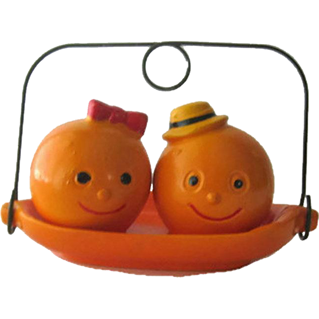 Anthropomorphic Oranges Salt Pepper Shakers / Shakers on Tray / Fruit Salt and Pepper / Vintage Kitchenware / Figural Shakers / Collectible Shakers