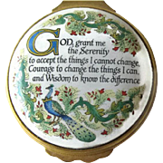 Halcyon Days Enamel Box / Serenity Prayer / Vintage Box / Enamel Box / Home Decor