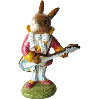 Royal Doulton Figurine Mr. Bunnybeat / Bunnykins Strumming Figurine DB16 / Porcelain Bunny Figure