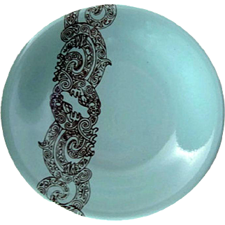 Air New Zealand Butter Pat -  Crown Lynn Potteries - Maori Pattern - Gift for Him - Collectible China
