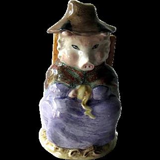 Beatrix Potter Figurine - And this Pig had none Figurine - Royal Albert - Porcelain Pig - England Porcelain - Sitting Pig