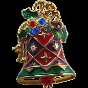 Christoper Radco Christmas Bell Brooch - Gift for Her