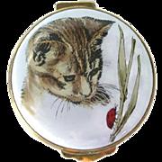 Vintage Crummles England Enamel Box With Cat Decoration