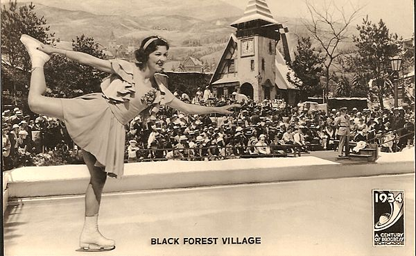 1934 World's Fair Century of Progress Real Photo Postcard in the Black Forest Village