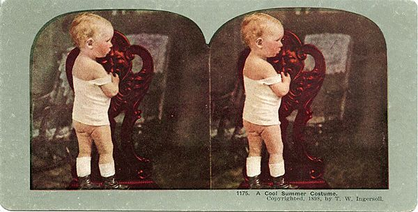 Stereo View of Baby in Cool Summer Outfit by T. W. Ingersoll