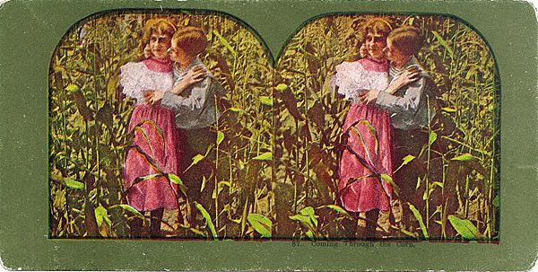 Lithograph Stereo View of Young Couple Kissing in the Corn