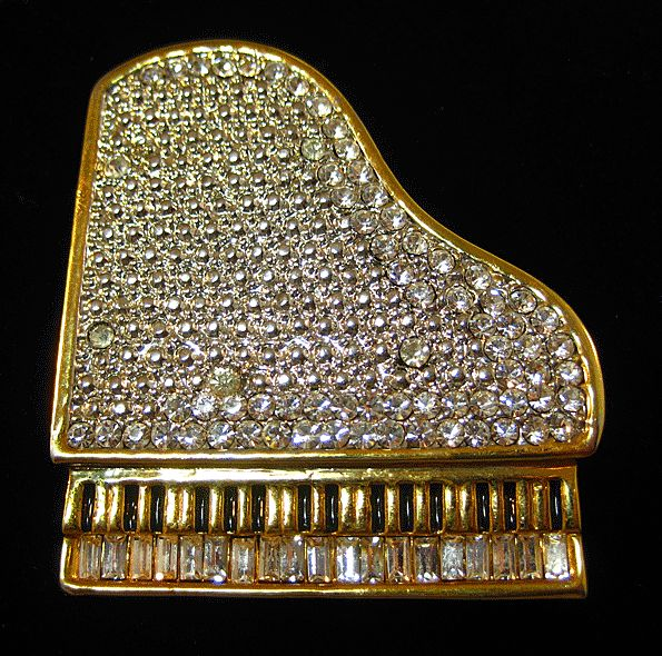"""Oh So Grand"" Grand Piano Pin with Clear Rhinestones"