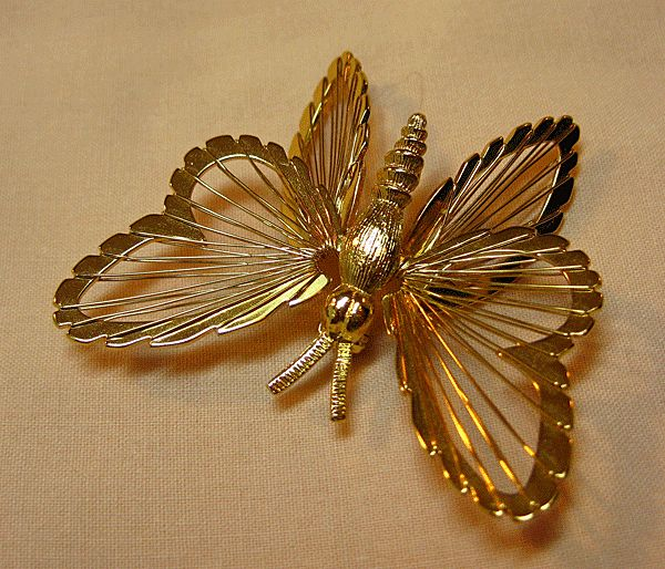 Monet Gold-tone Butterfly with Wire-Work Wings
