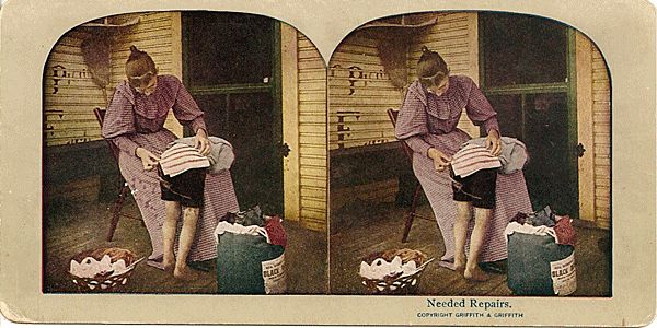 Lithograph Stereo View of Mother Repairing Young Boy's Britches