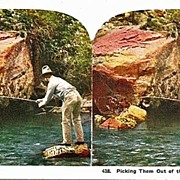Lithograph Stereo View of Man Fishing for Trout